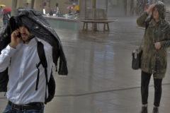 ohne Schirm unterwegs